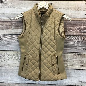 Zara Woman Quilted Puffer Vest XS Tan
